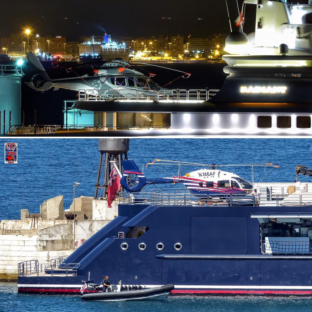 Helicopters seen on super-yachts Octopus and Radiant. Photo by Jarrad @ superyachts_gibraltar