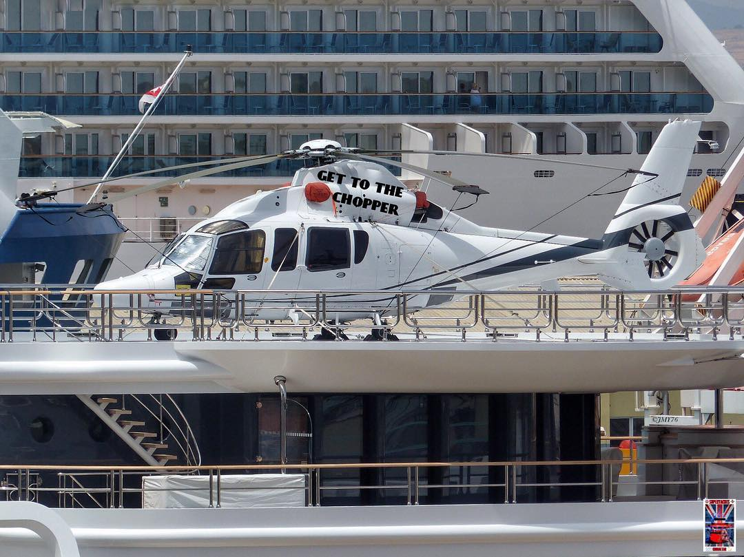 Helicopter on-board the 408' M/Y Katara.