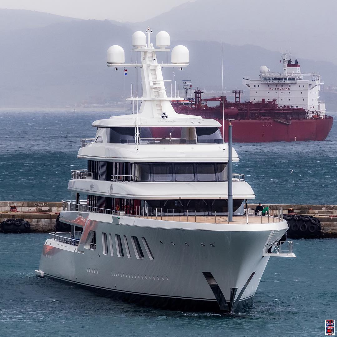 Aquarius in Gibraltar. Photo by Jarrad @ superyachts_gibraltar